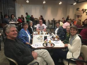Image of Friends of the Library members at a fundraiser at Painted Peak Brewery
